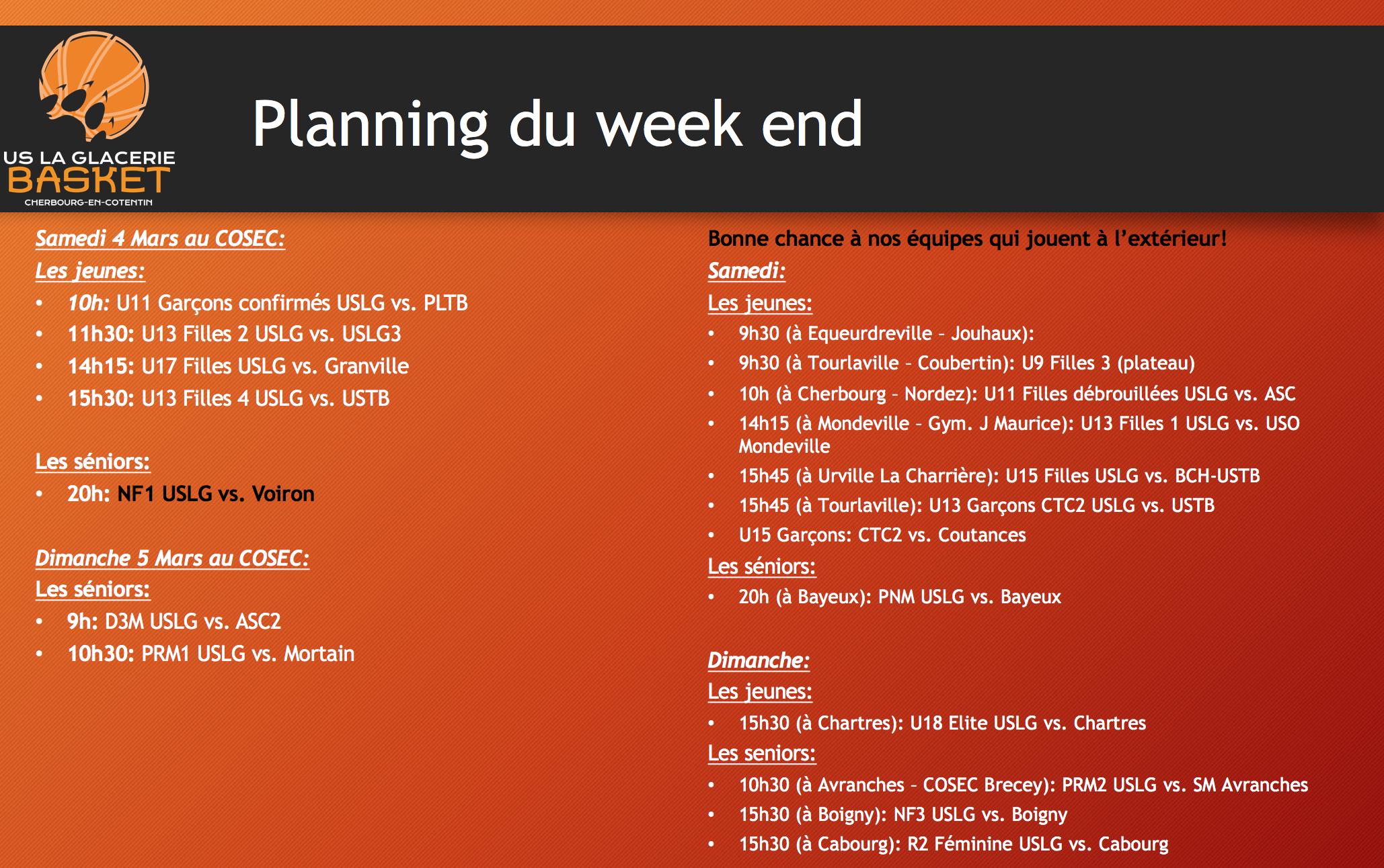 Planning du week end 4 & 5 Mars 2017
